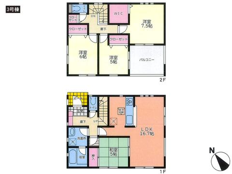 岡山県倉敷市連島町鶴新田の新築 一戸建て分譲住宅の間取り図