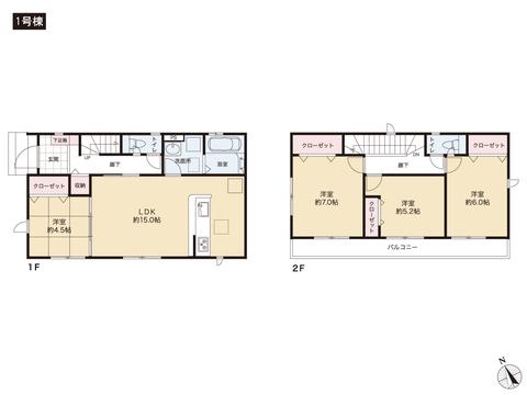岡山県倉敷市水島南緑町の新築 一戸建て分譲住宅の間取り図