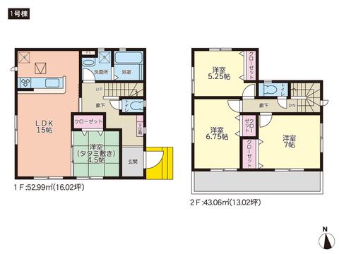 岡山県瀬戸内市邑久町豊原の新築 一戸建て分譲住宅の間取り図