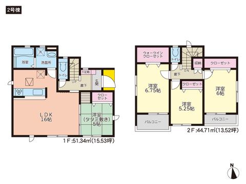 岡山県瀬戸内市邑久町山田庄の新築 一戸建て分譲住宅の間取り図