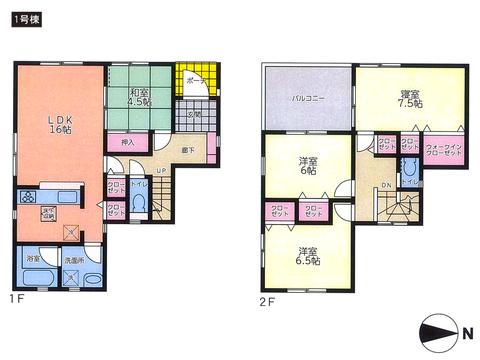 岡山県岡山市中区関の新築 一戸建て分譲住宅の間取り図