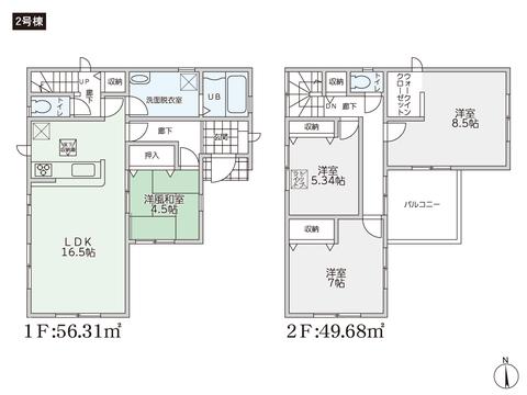 岡山県岡山市中区原尾島の新築 一戸建て分譲住宅の間取り図
