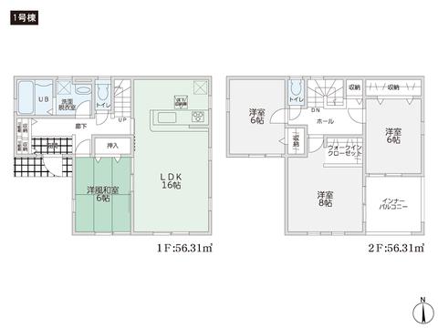 岡山県倉敷市中畝2丁目の新築 一戸建て分譲住宅の間取り図