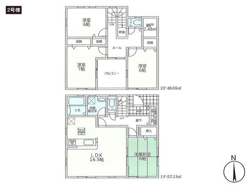 岡山県岡山市中区清水の新築 一戸建て分譲住宅の間取り図