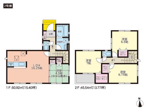 岡山県岡山市中区雄町の新築 一戸建て分譲住宅の間取り図