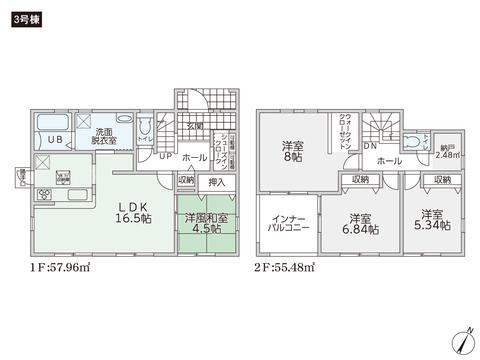 岡山県倉敷市福田町浦田の新築 一戸建て分譲住宅の間取り図