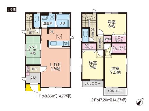 岡山県玉野市奥玉の新築 一戸建て分譲住宅の間取り図