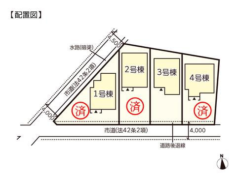 岡山県倉敷市八島の新築 一戸建て分譲住宅の区画図