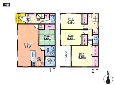 岡山県倉敷市児島阿津の新築 一戸建て分譲住宅の間取り図