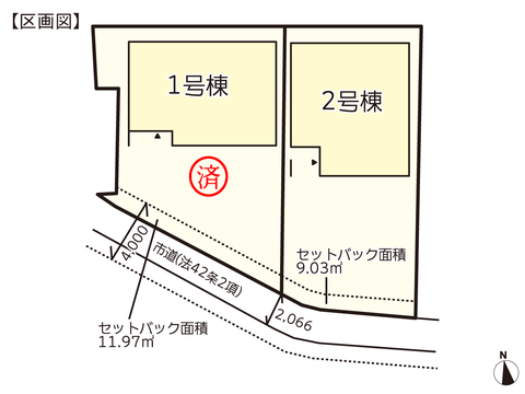 岡山県倉敷市川入の新築 一戸建て分譲住宅の区画図