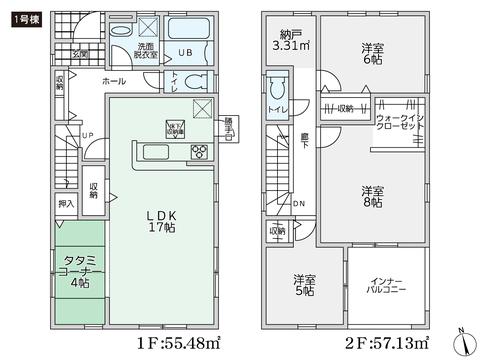 岡山県総社市泉の新築 一戸建て分譲住宅の間取り図