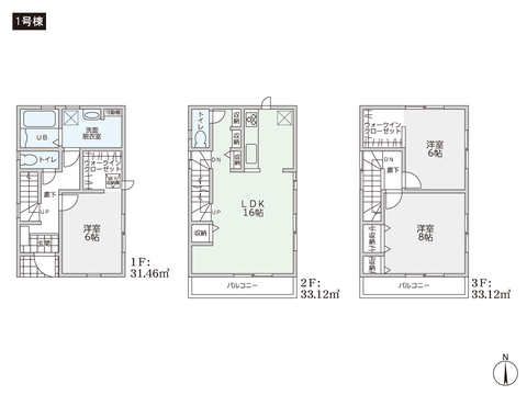 岡山県岡山市北区奉還町3丁目の新築 一戸建て分譲住宅の間取り図
