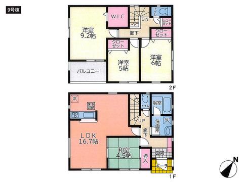 岡山県倉敷市児島下の町の新築 一戸建て分譲住宅の間取り図