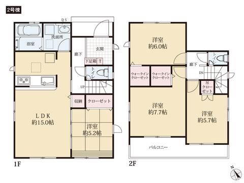 岡山県岡山市南区川張の新築 一戸建て分譲住宅の間取り図