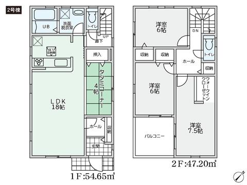 岡山県岡山市北区一宮の新築 一戸建て分譲住宅の間取り図