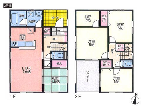 岡山県岡山市東区西大寺浜の新築 一戸建て分譲住宅の間取り図