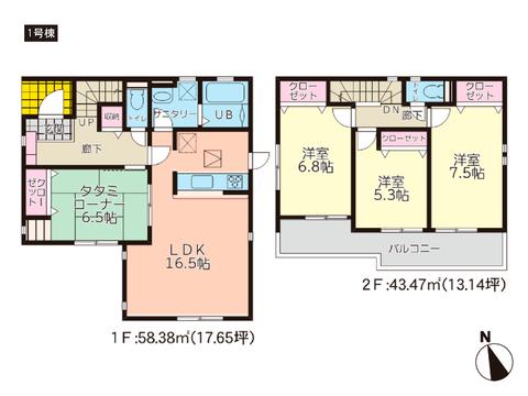 岡山市北区高松原古才の新築 一戸建て分譲住宅の間取り図