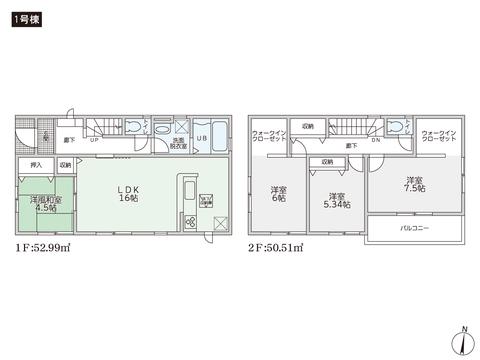岡山県倉敷市福井の新築 一戸建て分譲住宅の間取り図