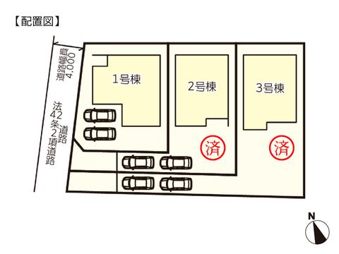 岡山市北区高松原古才の新築 一戸建て分譲住宅の区画図