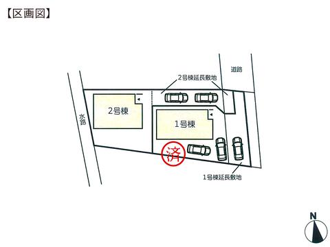 岡山県岡山市南区当新田の新築 一戸建て分譲住宅の区画図