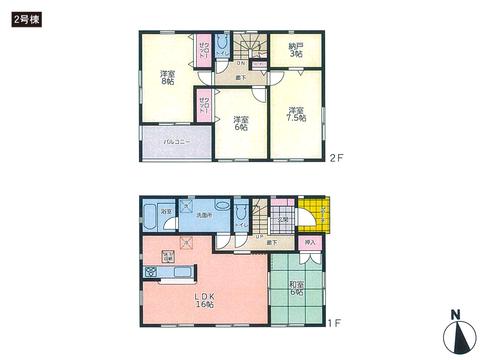 岡山県岡山市南区当新田の新築 一戸建て分譲住宅の間取り図