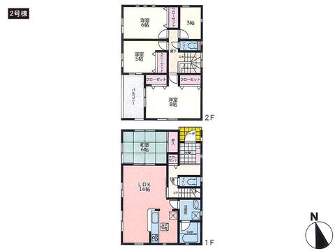 岡山県岡山市南区築港新町の新築 一戸建て分譲住宅の間取り図