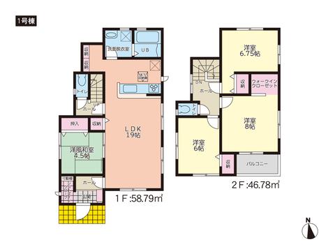 岡山市中区藤原光町の新築 一戸建て分譲住宅の間取り図