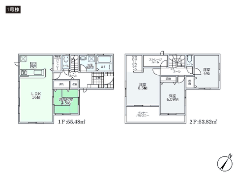 岡山県岡山市北区辛川市場の新築 一戸建て分譲住宅の間取り図