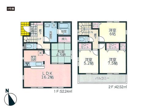 岡山県岡山市東区西大寺中野の新築 一戸建て分譲住宅の間取り図