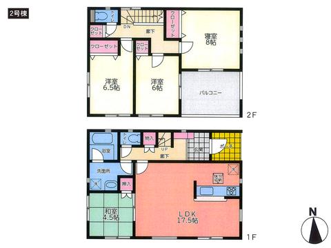 岡山県岡山市北区七日市東町の新築 一戸建て分譲住宅の間取り図