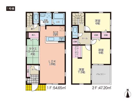 岡山県倉敷市黒崎の新築 一戸建て分譲住宅の間取り図