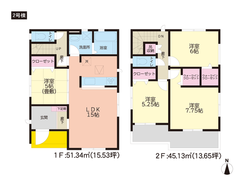岡山県岡山市中区高島新屋敷の新築 一戸建て分譲住宅の間取り図