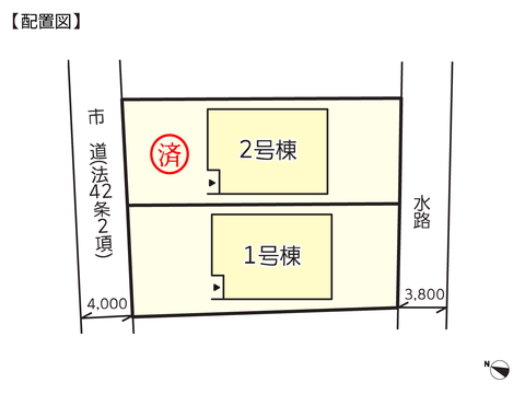 岡山県倉敷市西中新田の新築 一戸建て分譲住宅の区画図