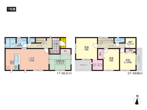 岡山県岡山市北区庭瀬の新築 一戸建て分譲住宅の間取り図