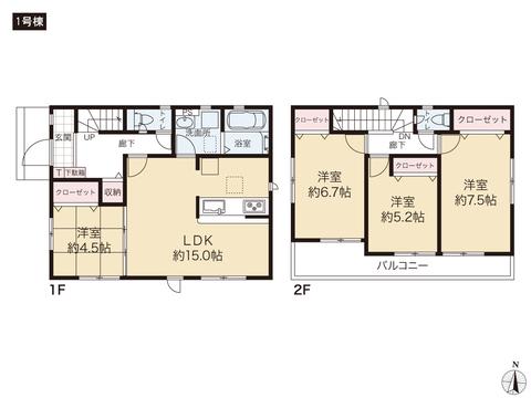 岡山県赤磐市桜が丘西の新築 一戸建て分譲住宅の間取り図