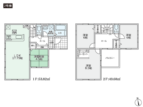 岡山県倉敷市酒津の新築 一戸建て分譲住宅の間取り図