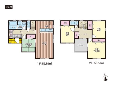 岡山県岡山市南区若葉町の新築 一戸建て分譲住宅の間取り図