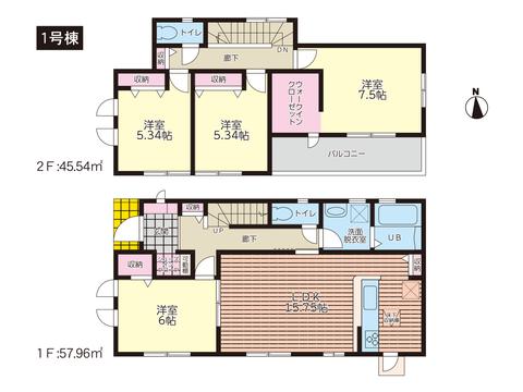 岡山市中区中井の新築 一戸建て分譲住宅の間取り図