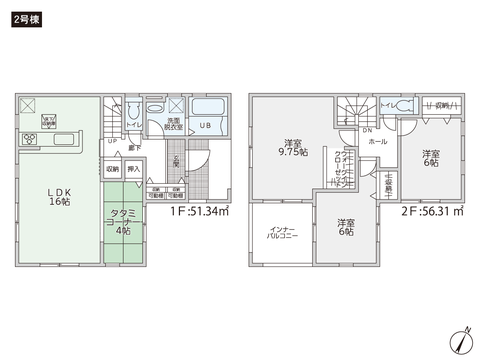 岡山県倉敷市連島町矢柄の新築 一戸建て分譲住宅の間取り図