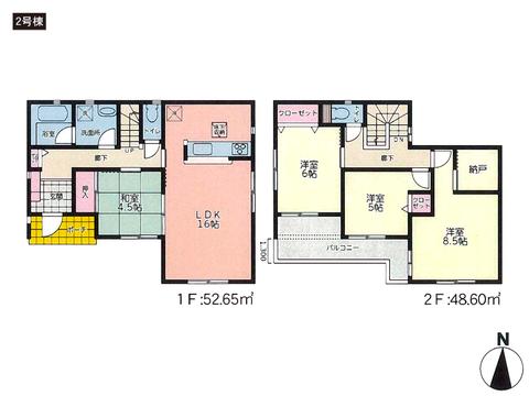 岡山県倉敷市北畝の新築 一戸建て分譲住宅の間取り図
