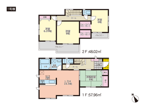 岡山県岡山市南区福田の新築 一戸建て分譲住宅の間取り図