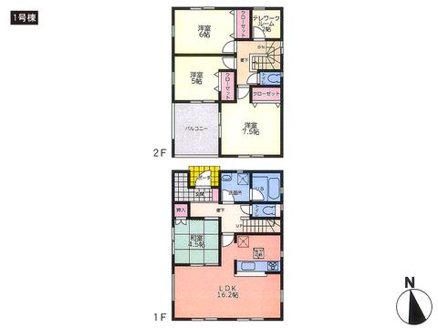 岡山県倉敷市庄新町の新築 一戸建て分譲住宅の間取り図