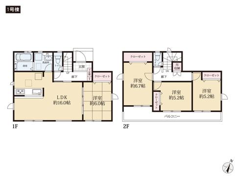 岡山県赤磐市桜が丘東3丁目の新築 一戸建て分譲住宅の間取り図