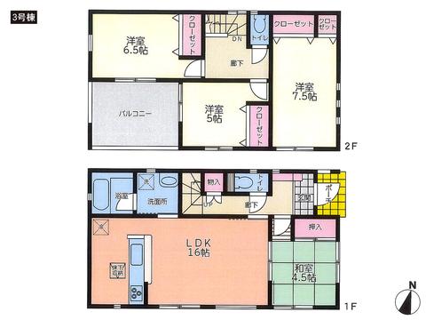岡山県倉敷市児島小川の新築 一戸建て分譲住宅の間取り図