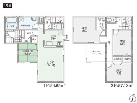 岡山県総社市井手の新築 一戸建て分譲住宅の間取り図