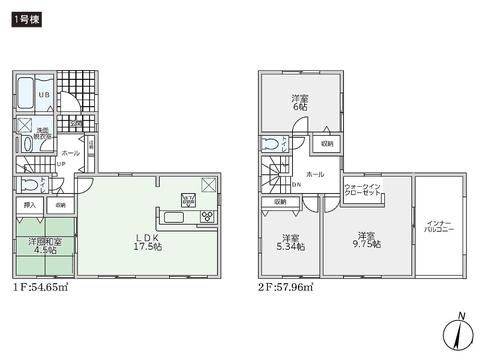岡山県玉野市槌ケ原の新築 一戸建て分譲住宅の間取り図