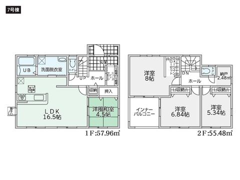 岡山県倉敷市広江の新築 一戸建て分譲住宅の間取り図