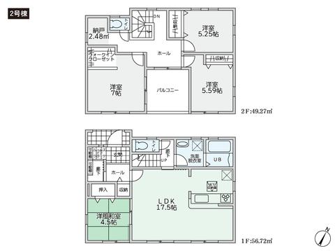 岡山県岡山市中区桑野の新築 一戸建て分譲住宅の間取り図