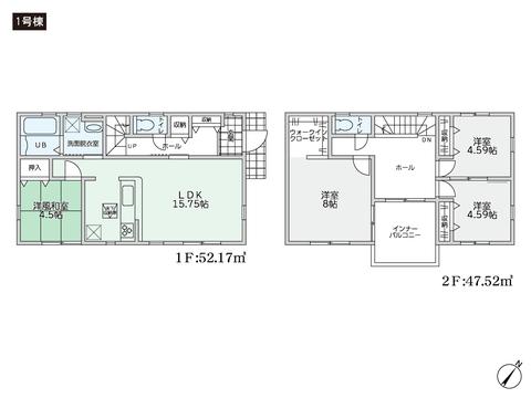 岡山県岡山市南区西高崎の新築 一戸建て分譲住宅の間取り図