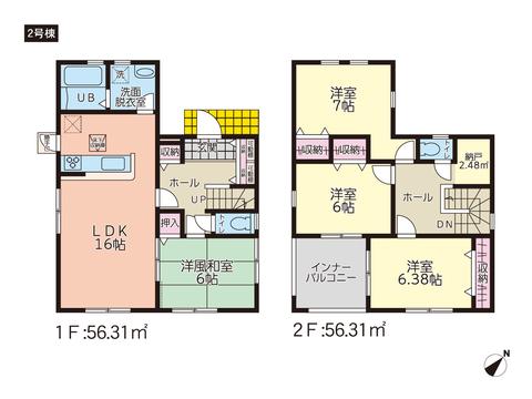 岡山県倉敷市松島の新築 一戸建て分譲住宅の間取り図